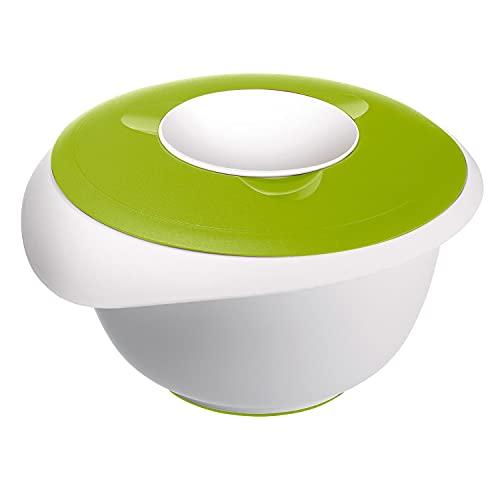 Westmark Bol para mezclar y hornear con tapa de dos partes, 2.5 l, Con pico, Plástico, Blanco/Verde manzana, 3153227A