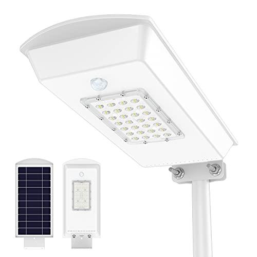TENKOO Solar Street Lights Outdoor Dusk to Dawn LED Pole Lamp with Motion Sensor Waterproof IP65 Security Solar Flood Light for Yard Garden Stadium Basketball Court
