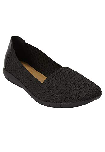 Comfortview Women's Wide Width The Bethany Flat Comfortable Woven Stretch Shoe Shoes - 12 W, Black