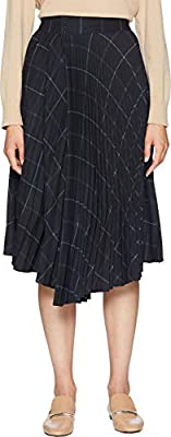 Vince Womens Grid Plaid Drape Pleated Skirt