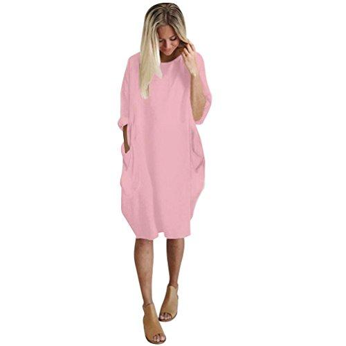 NPRADLA Sommer Kleider Damen Mit Tasche Lose Kleid Damen Rundhalsausschnitt beiläufige Tägliche Lange Tops Kleid Plus Größe