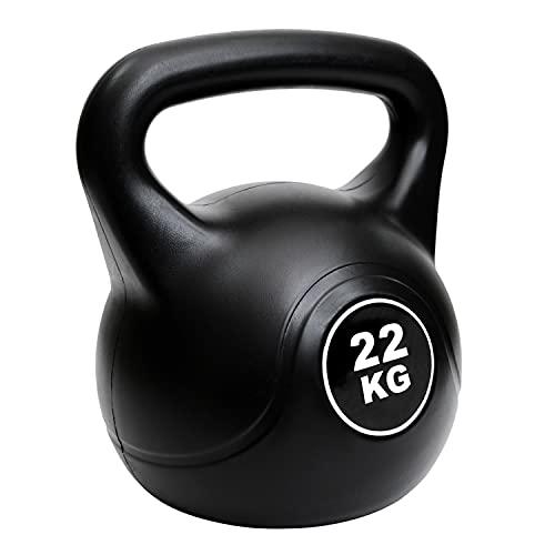 AKOZLIN ケトルベル グリップケトルベル 2kg 4kg 6kg 8kg 10kg 12kg 14kg 16kg 18kg 20kg 22kg Kettlebell ビニールコーティング 握り易いグリップ仕様で・音軽減 キズ防止・ご家庭での利用に最適 筋力 体幹 ファンクショナルトレーニング ブラック