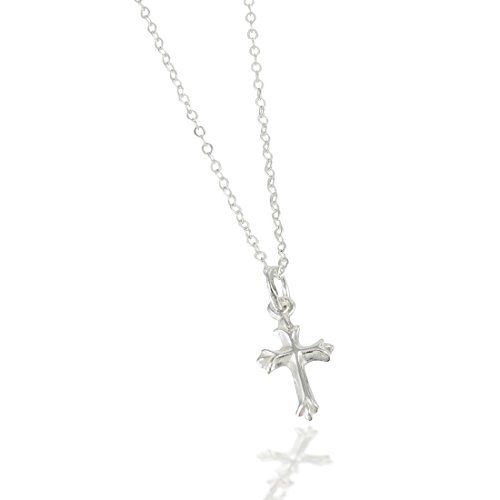 Tiny Sterling Silver Cross Necklace with Chain for Babies (12') & Girls (14') Makes an Ideal Baby Shower, Baptism, Christening, or Welcome New Baby gift and will become a Treasured Heirloom.