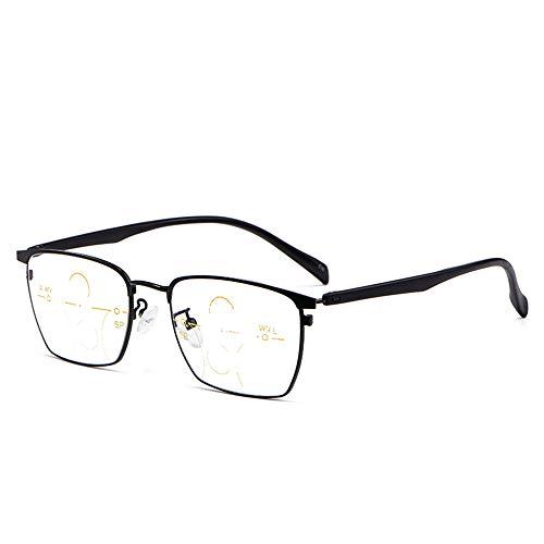 Gafas De Lectura Inteligentes De Enfoque Múltiple para Hombres Y Mujeres, Gafas De Computadora Anti-Fatiga Progresivas con Luz Azul +1.0 A +3.0,Negro,+2.00