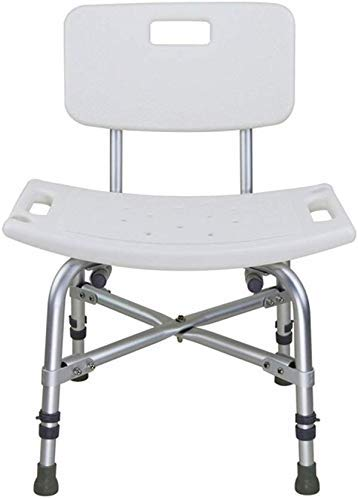 ZUQIEE Stools Stool White Safe and Secure Comfort Backrest Bath Chair Elderly/Handicapped/Pregnant Adjustable Aluminum Alloy Bath Stool Antislip Chair Max. 226kg Bath Stools