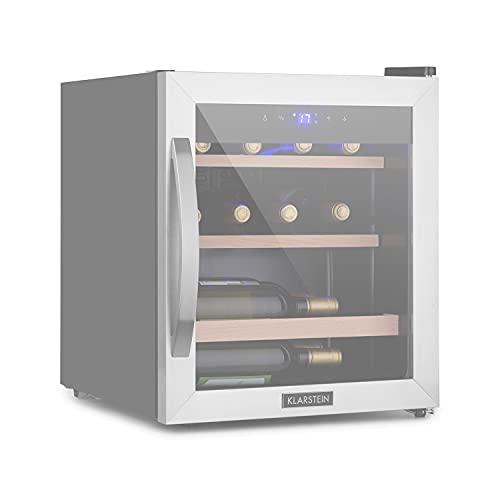 Klarstein Vinamour Uno - Nevera para vinos, Capacidad 46 L, Hasta 12 botellas, Temperaturas 4 a 18 °C, Refrigeración por compresión, Panel control táctil, 2 estantes de madera, Iluminación LED, Gris