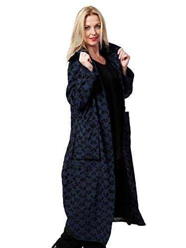 """AKH FASHION Jaquard Mantel Damen """"Maroc, blau, ballonförmiger Oversize Mantel für Damen, ausgefallen & in große Größen Lagenlook Mode"""