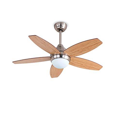 IKOHS WOOD- Ventilatore da soffitto con luce incorporata, design esclusivo, silenzioso, potente, 5 pale in legno, telecomando, diametro 107 cm, 3 velocità, timer, motore a corrente alternata, 60 W