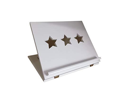 greca Atril Lacado. con Estrellas caladas. Atriles Madera. (Blanco)