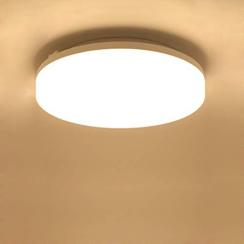 Lamker 15W LED Deckenleuchte 3000K Runde Modern Wasserfest IP44 Deckenlampe Deckenbeleuchtung 1350lm Super Hell für Wohnzimmer Küche Balkon Flur Badezimmer Bad Garage Büro Warmweiß