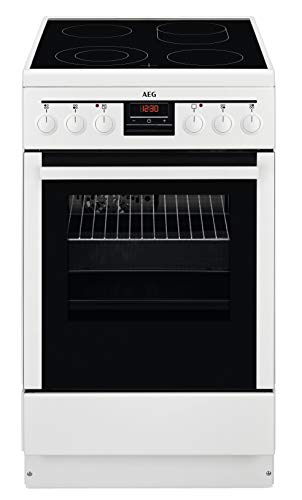 AEG 47995VD-WN 50 cm Standherd mit Glaskeramik-Kochfeld / Bräterzone / Mehrkreiskochzone / Versenkknebel / Grillfunktion / Display mit Uhr / A