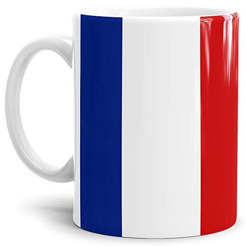 Tassendruck Flaggen-Tasse/Souvenir/Urlaub/Länder-Fahne/Kaffetasse/Mug/Cup - (Frankreich, Normal)