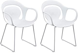 Homy Casa Dining Chair Set of 2 Effeil Mid Century Side Kitchen Chair with Armrest,White