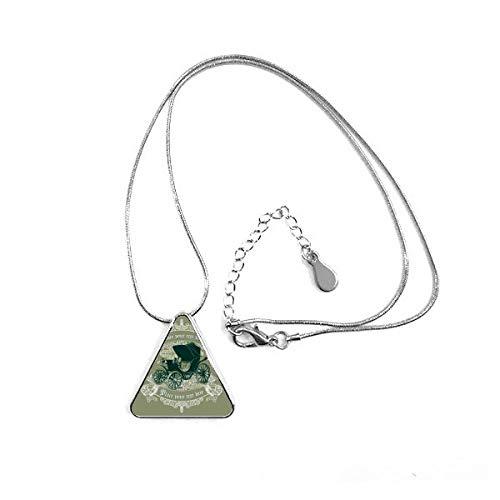 DIYthinker Collar con Colgante en Forma de triángulo con diseño de Flor de Coches, Color Verde Oscuro, con Cadena Decorativa para Regalo