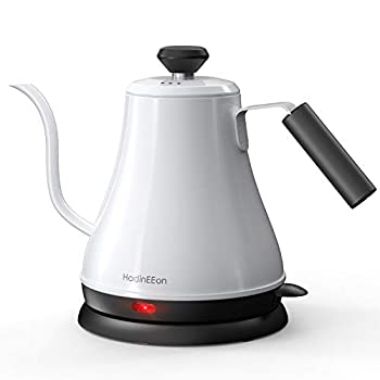 HadinEEon Electric Gooseneck Kettle 100% Stainless Steel BPA-Free Tea Kettle Electric Pour Over Coffee Kettle Pot Portable Cordless Teapot with Auto Shut-Off Protection 1000 Watt,0.8L- Glossy White