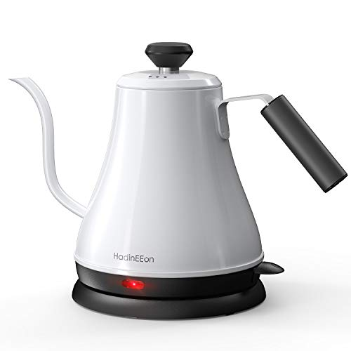 HadinEEon Electric Gooseneck Kettle 100% Stainless Steel BPA-Free Tea Kettle, Electric Pour Over Coffee Kettle Pot Portable Cordless Teapot with Auto Shut-Off Protection, 1000 Watt, 0.8L- White