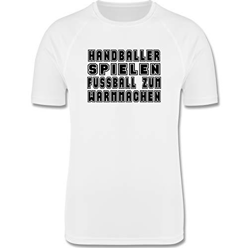 Shirtracer Handball - Handballer Spielen Fußball Zum Warmmachen - XL - Weiß - Kurzarm - F350 - Herren Laufshirt