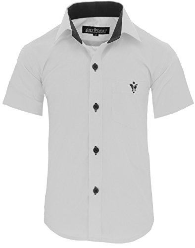 GILLSONZ A70vDa Kinder Party Hemd Freizeit Hemd bügelleicht Kurz ARM 7 Farben Gr.86-158 (128/134, Weiß)