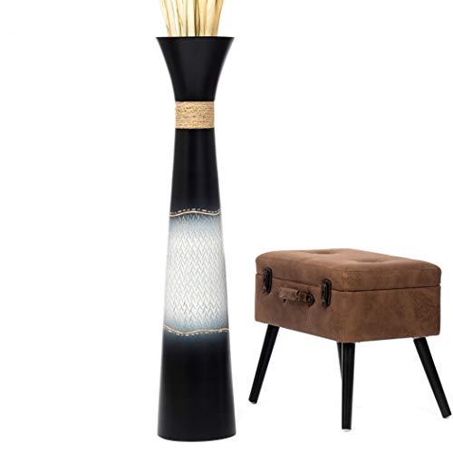 Leewadee Grand Vase à Poser au Sol - Vase à Poser au Sol pour Branches décoratives, Vase Haut Design en Bois de manguier, 112 cm, Noir Blanc
