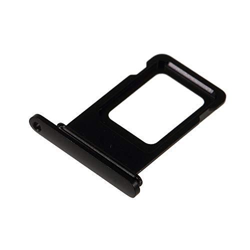 jbTec Dual SIM-Tray/Halter passend für Apple iPhone Xr - Slot Karte Schlitten Rahmen Holder Handy Card Ersatz Fach Phone, Farbe:Schwarz