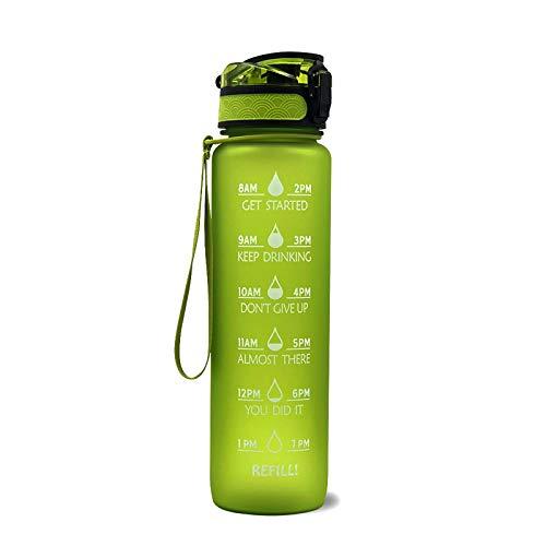 WEIXINMWP 1 Unidad de Botella de Agua con Fecha de gradiente para Deportes, Botella de Agua con Sello de Tiempo, Viaje al Aire Libre, Camping, Bebida de plástico,9,1000ML