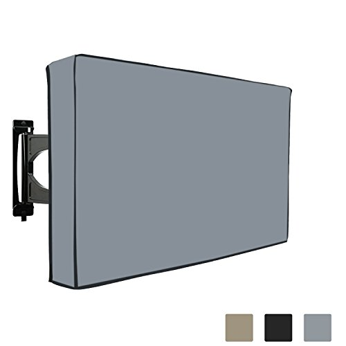 "TV Cover Outdoor 12 Oz Waterproof - UV & Weather Resistant Cover for LED, LCD, Plasma TV - Built-in Bottom Protection Flap - Remote Control Storage Pocket - Fits Wall & Mounts (40"" - 42"", Grey)"