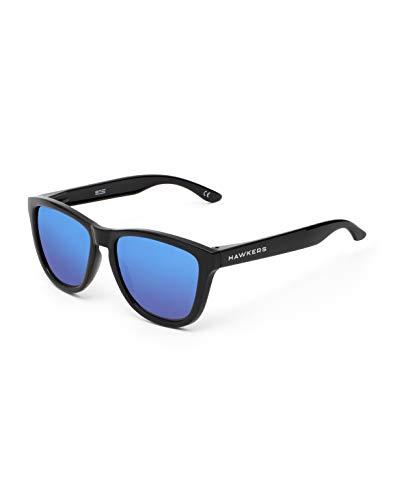 HAWKERS Gafas de Sol ONE Diamond Black, para Hombre y Mujer, con Montura Negra Brillante y Lente Azul con efecto Espejo, Protección UV400