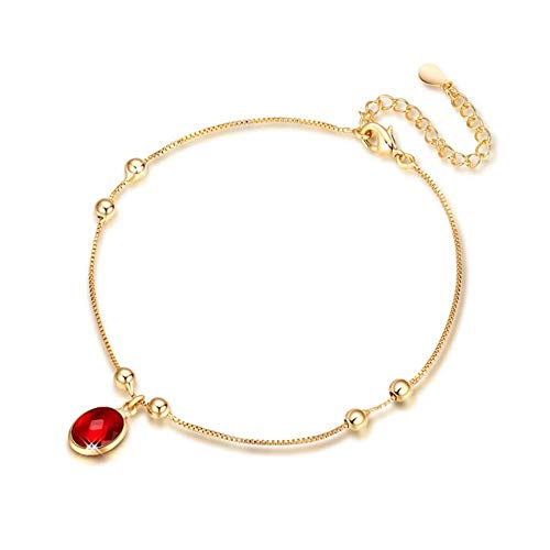 Adjustable Synthetic Ruby Anklet Bohemian Style Sterling Silver Anklet Women with 18 Carat Gold Plated Simple Anklet Party Engagement