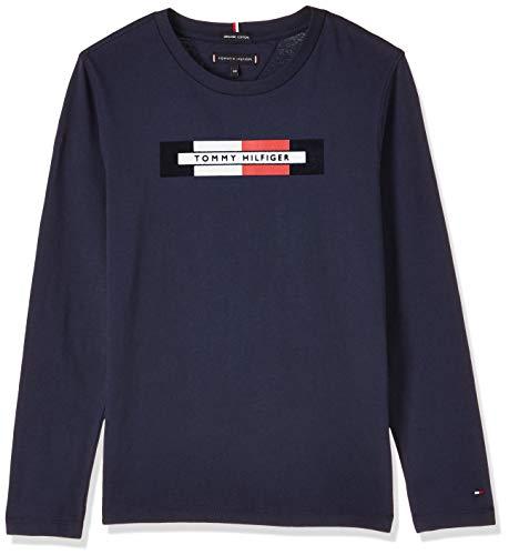 Tommy Hilfiger Jungen Essential Hilfiger Logo Tee L/S Langarmshirt, Blau (Blue Cbk), 104 (Herstellergröße:4)