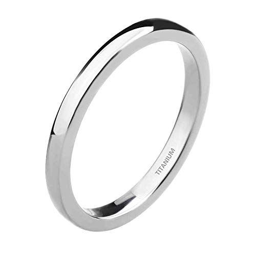 Zakk Ring Damen Herren 2mm 4mm 6mm Titan Poliert Schmal Ringe Verlobungsringe Ehering Hochzeitsringe (Silber-2mm, 57 (18.1))