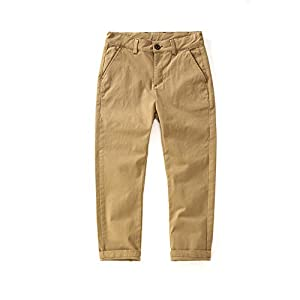KID1234男の子 ロングパンツ ズボン キッズ パンツ スキニー ストレート ストレッチ 男児 ウエスト調整可能 薄手 カジュアル 長ズボン ポケット付き 子供服 吸汗 通気性 ボトムス 裏起毛 前ファスナー 綿 ベージュ 150