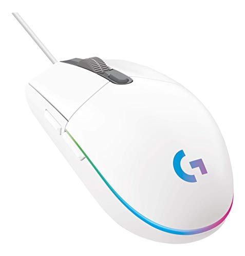 Logitech G203 Lightsync Gaming Mouse with Customizable RGB Lighting, 6 Programmable Buttons, Gaming Grade Sensor, 8 k dpi Tracking, Light Weight (White)