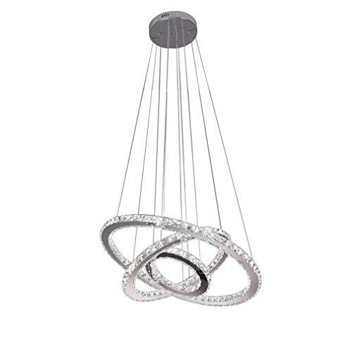 Elliptische LED Moderne Kristall Kronleuchter Edelstahl Pendelleuchte Deckenleuchte Schlafzimmer Lüster Kaltweiß (Tri-Ring (30 cm + 50 cm + 70 cm))