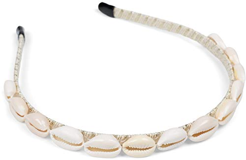 styleBREAKER Dames haarband smal met schelpen, Maritieme haarband, hoofdband 04027012, Farbe:Beige