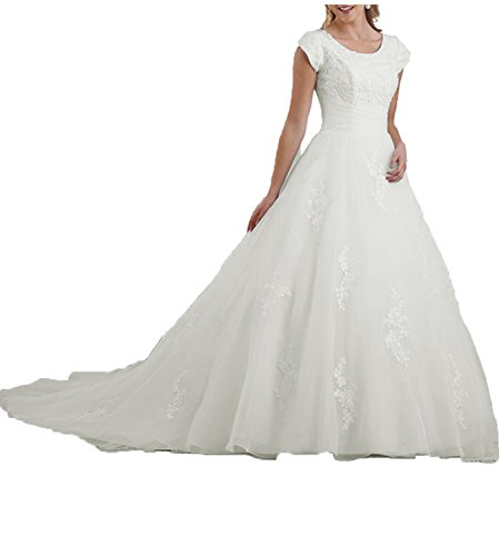 OYISHA Women's Sweep Train Lace Wedding Dress for Birde 2020 with Sleeves Bridal Gown WD004