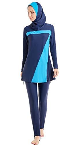 TianMai Heiß Neu Muslimischen Bademode islamisch Kurz Ärmel Blume Bescheiden Badeanzug Strandkleidung Burkini Dame Ausschlag Bewachen Surfen Passen Kostüm (Blau-1, Int'l S (EU-Größe 34-36))