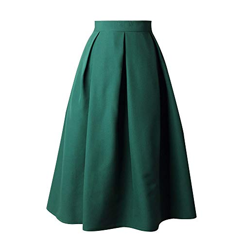 IFOUNDYOU A-Linie Elegant Faltenrock Hohe Taille Midi-Rock - Damen Vintage Plissiert Volltonfarbe Regenschirm Röcke Ausgestellt Faltenrock