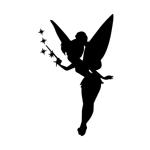 Bargain Max Decals Star Fairy Silhouette Decal Notebook Car Laptop 5.5' (Black)