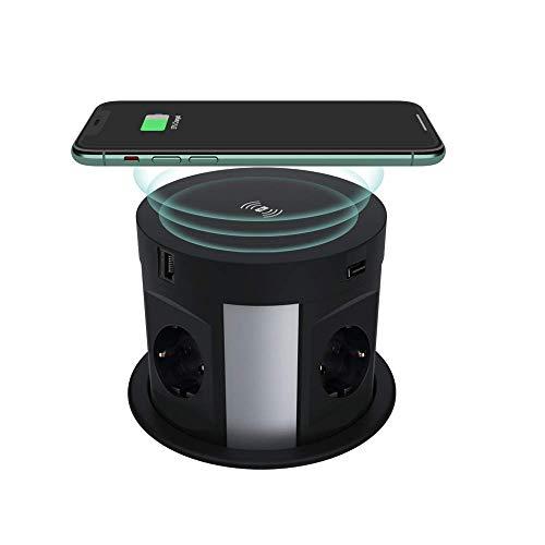 Torre de enchufe retráctil con USB, THOWALL enchufe oculto para mesa con cargador inalámbrico, enchufe múltiple con 4 enchufes Schuko, 2 puertos USB y HDMI y conectores RJ45
