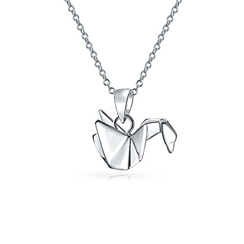3D Geometric 925 Sterling Silver Origami Crane Bird Swan Pendant Necklace For Women For Teen