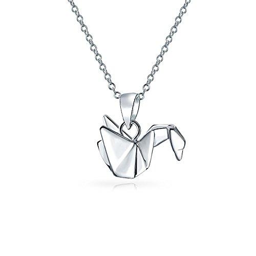 3D Geometrische 925 Sterling Silber Origami Crane Vogel Swan Anhänger Mit Halskette Für Damen Für Jugendlich