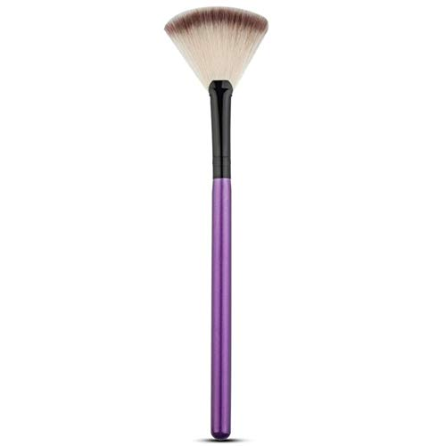 Yener Cosmetic Tools Accessoires Fan Shape Makeup Brush Highlighter Face Powder Brush 2 Pcs for Face Make Up, Purple