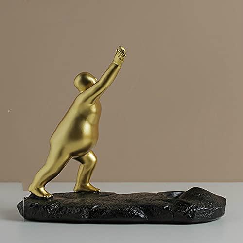 Estante de vino creativo de oro/plata figura estatua estante de vino resina abstracta hombre gordo artesanía simple hogar exhibición rack