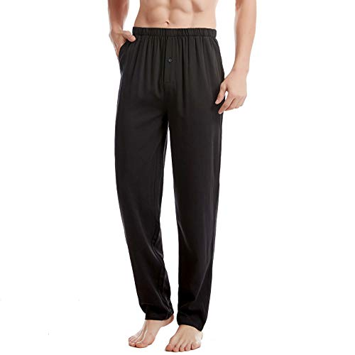 BAMBOO COOL Men's Pajamas Pants Bamboo Soft Print Lounge Sleep Bottoms with Pockets Black