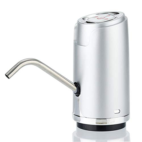 Logicstring Bomba De Botella De Agua,Bomba De Agua De Carga USB Recargable Inteligente para Barriles Universales De 4-20L para Oficina En El Hogar Al Aire Libre (Blanco/Plateado/Negro/Dorado)