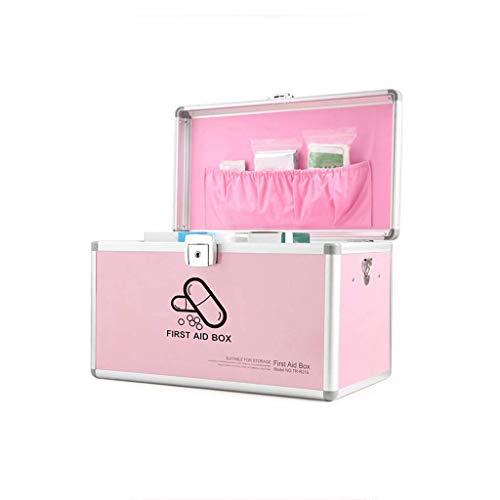 GAXQFEI Caja de medicina de múltiples capas para el hogar, caja de primeros auxilios, caja de almacenamiento de medicamentos de emergencia, caja de pastillas, caja de joyería, rosa, mediano