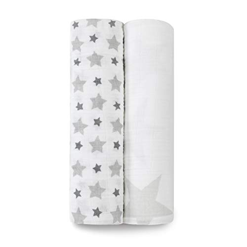 aden + anais 100% cotton Muslin Swaddle & Receiving Blankets for Baby Girls & Boys, 120x120cm, Ideal Newborn & Infant Swaddling Wrap Set, Perfect Shower Gifts, 2 Pack, twinkle