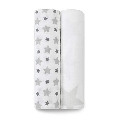aden + anais maxi-langes, 100% mousseline de coton, 120cm x 120cm, pack de 2, twinkle