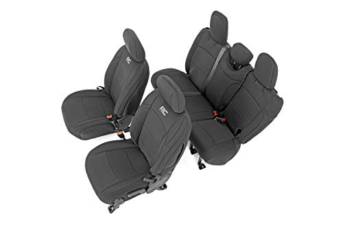 Rough Country Neoprene Seat Covers (fits) 2018-2020 Jeep Wrangler JL 4DR 1st/2nd Row   Water Resistant   91010 , Black