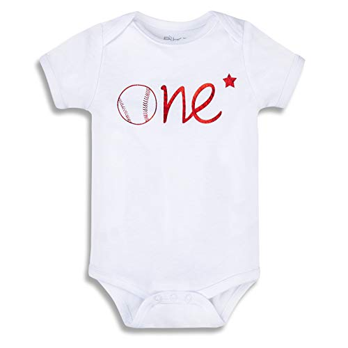 BKD Organic Infant Baby Boy Girl Onesie Bodysuit for First Birthday Gift Baseball Baby Clothes Gold Birthday Outfit (ONE-RSS, 6-12 Months)